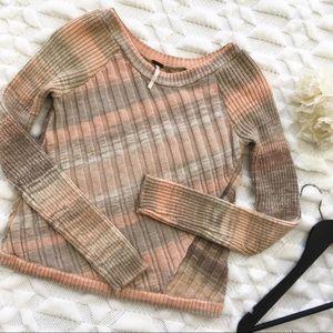 Free People Tan and Grey Diagonal Stripe Sweater